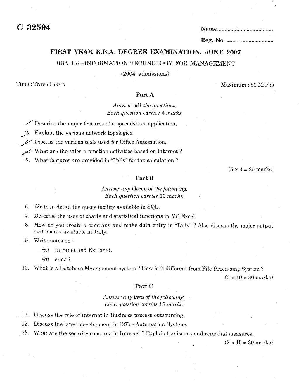 Calicut University 2007 B B A INFORMATION TECHNOLOGY FOR